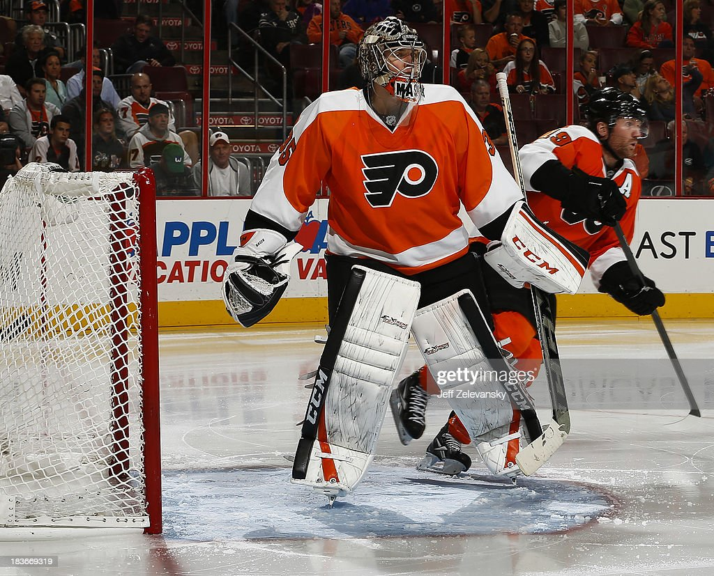 Steve Mason #35 of the Philadelphia Flyers comes out of the goal after a ave against the Florida Panthers at the Wells Fargo Center on October 8, 2013 in Philadelphia, Pennsylvania.