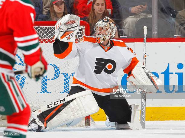 Steve Mason of the Philadelphia Flyers in action against the New Jersey Devils on March 16 2017 at Prudential Center in Newark New Jersey The Devils...