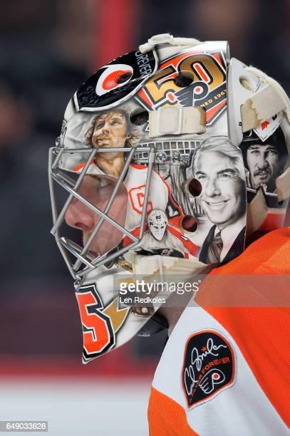 Steve Mason of the Philadelphia Flyers looks on against the Colorado Avalanche on February 28 2017 at the Wells Fargo Center in Philadelphia...