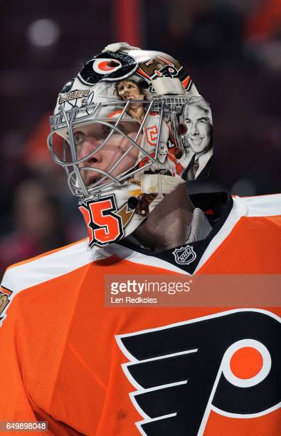 Steve Mason of the Philadelphia Flyers looks on against the Florida Panthers on March 2 2017 at the Wells Fargo Center in Philadelphia Pennsylvania