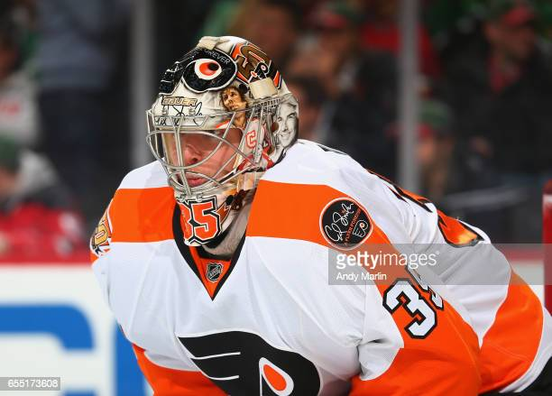 Steve Mason of the Philadelphia Flyers looks on against the New Jersey Devils during the game at Prudential Center on March 16 2017 in Newark New...