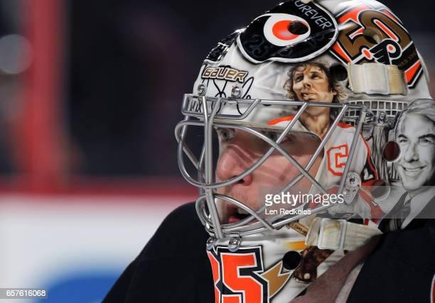Steve Mason of the Philadelphia Flyers looks on against the Pittsburgh Penguins on March 15 2017 at the Wells Fargo Center in Philadelphia...