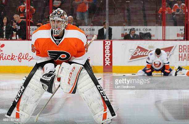 Steve Mason of the Philadelphia Flyers looks on during warmups prior to his game against the New York Islanders on April 7 2015 at the Wells Fargo...
