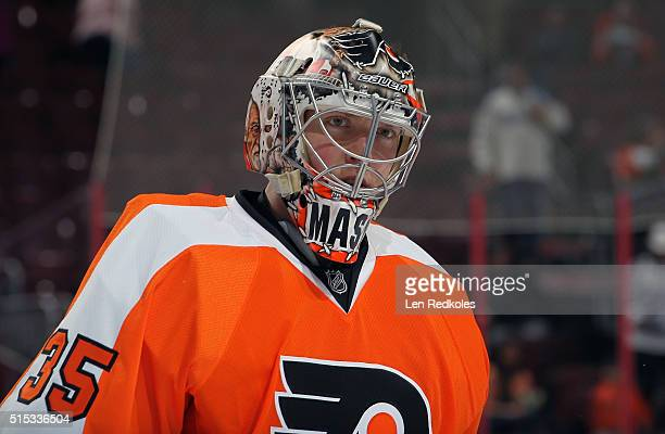 Steve Mason of the Philadelphia Flyers looks on during warmups prior to his game against the Tampa Bay Lightning on March 7 2016 at the Wells Fargo...