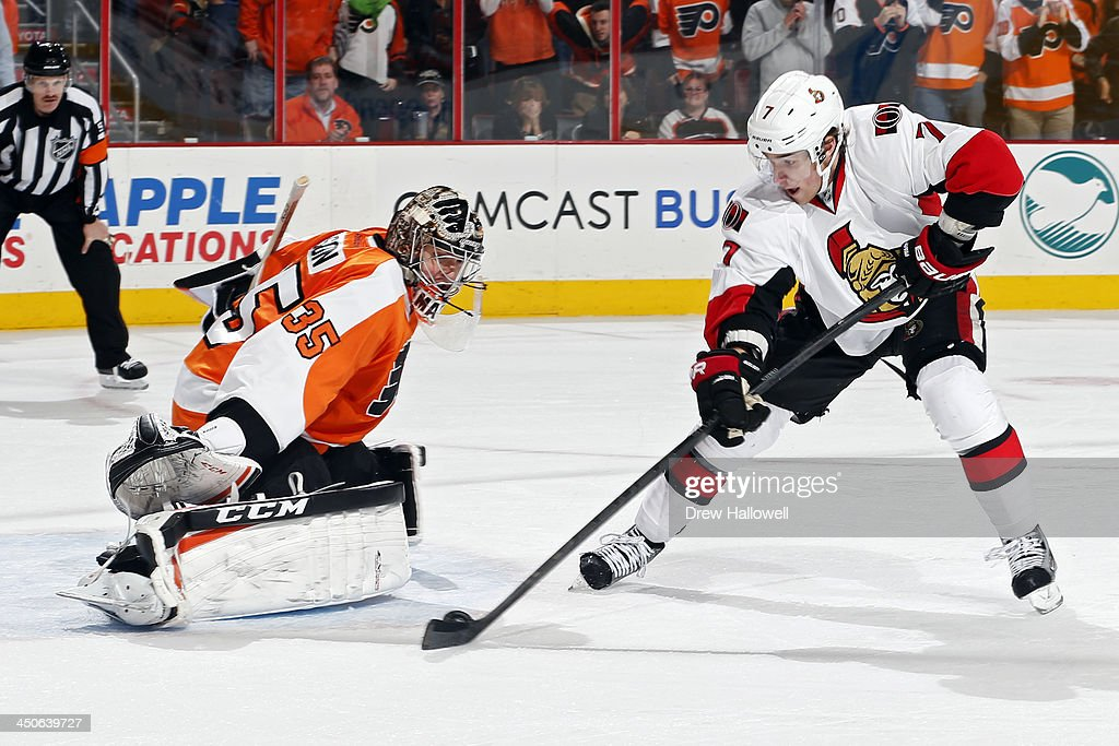Steve Mason #35 of the Philadelphia Flyers makes a save on a penalty shot by <a gi-track='captionPersonalityLinkClicked' href=/galleries/search?phrase=Kyle+Turris&family=editorial&specificpeople=4251834 ng-click='$event.stopPropagation()'>Kyle Turris</a> #7 of the Ottawa Senators in the third period at the Wells Fargo Center on November 19, 2013 in Philadelphia, Pennsylvania. The Flyers won 5-2.