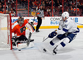 Steve Mason of the Philadelphia Flyers makes the first period save on Steven Stamkos of the Tampa Bay Lightning at the Wells Fargo Center on December...