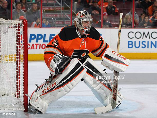 Steve Mason of the Philadelphia Flyers prepares to stop a shot on goal by a member of the New York Rangers on February 6 2016 at the Wells Fargo...