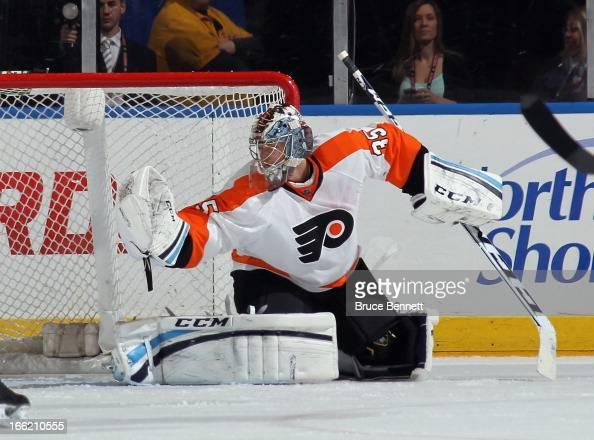 Steve Mason of the Philadelphia Flyers skates against the New York Islanders at the Nassau Veterans Memorial Coliseum on April 9 2013 in Uniondale...