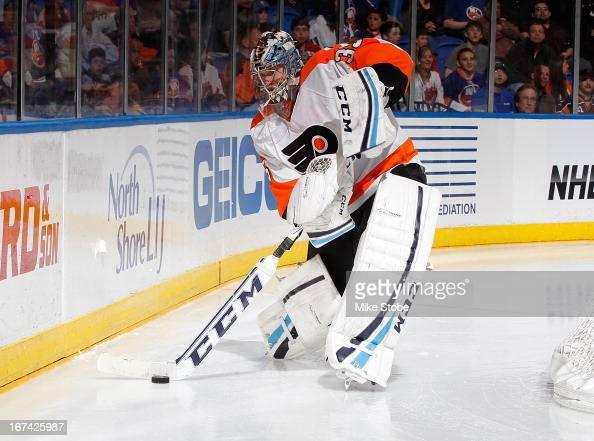 Steve Mason of the Philadelphia Flyers skates against the New York Islanders at Nassau Veterans Memorial Coliseum on April 9 2013 in Uniondale New...