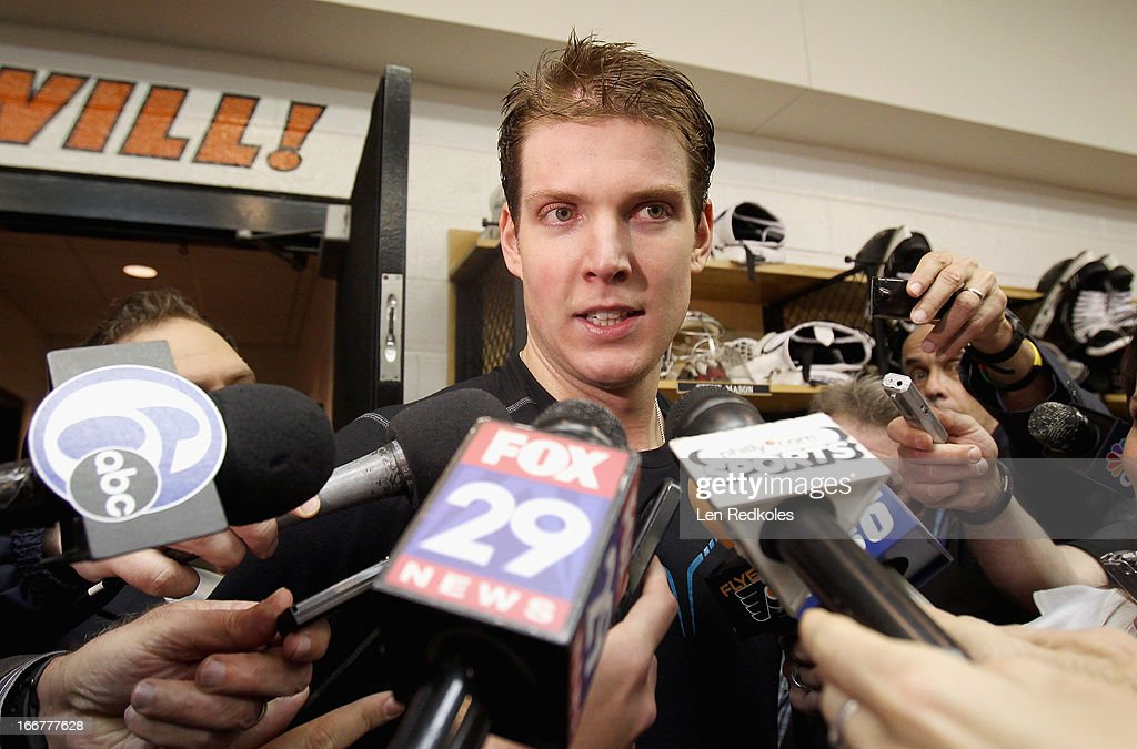 Steve Mason #35 of the Philadelphia Flyers speaks to the media after earning his first win as a Flyer while defeating the New York Rangers 4-2 on April 16, 2013 at the Wells Fargo Center in Philadelphia, Pennsylvania.
