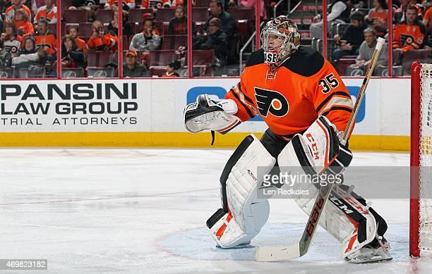 Steve Mason of the Philadelphia Flyers tends goal against the Ottawa Senators on April 11 2015 at the Wells Fargo Center in Philadelphia Pennsylvania