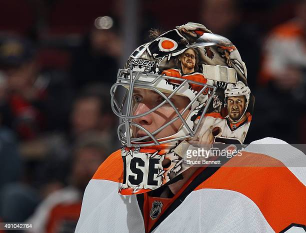 Steve Mason of the Philadelphia Flyers tends net against the New Jersey Devils during the second period at the Prudential Center on October 2 2015 in...