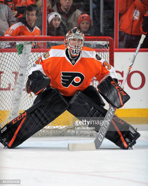 Steve Mason of the Philadelphia Flyers warms up prior to his game against the New York Islanders on February 9 2017 at the Wells Fargo Center in...