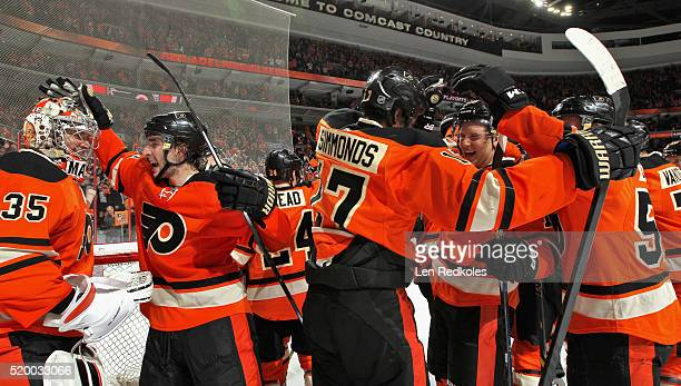 Steve Mason Shayne Gostisbehere Wayne Simmonds Brayden Schenn and Nick Cousins of the Philadelphia Flyers celebrate after defeating the Pittsburgh...