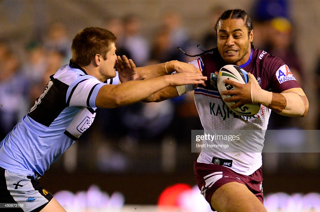 Steve Matai of the Sea Eagles runs the ball during the round 15 NRL match between the Cronulla-Sutherland Sharks and the Manly-Warringah Sea Eagles at Remondis Stadium on June 21, 2014 in Sydney, Australia.