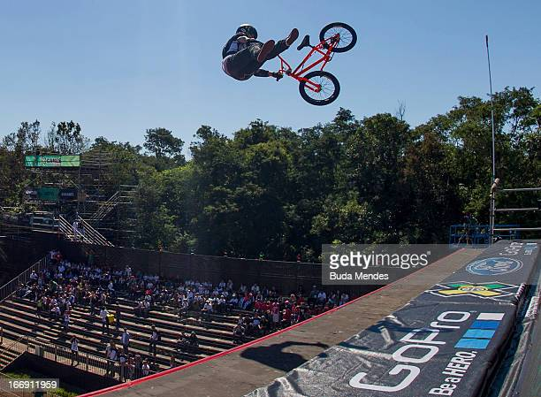 Steve McCann of Australia in action during the BMX Freestyle Pratice at the XGames on April 18 2013 in Foz do Iguacu Brazil