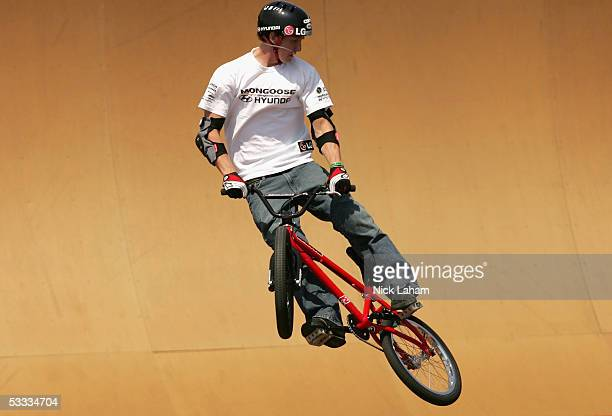 Steve McCann performs a trick during the BMX Freestyle park final at XGames Eleven on August 6 2005 at the Home Depot Center in Los Angeles California