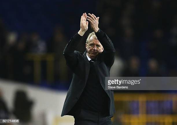 Steve McClaren manager of Newcastle United applauds the travelling fans after the Barclays Premier League match between Tottenham Hotspur and...