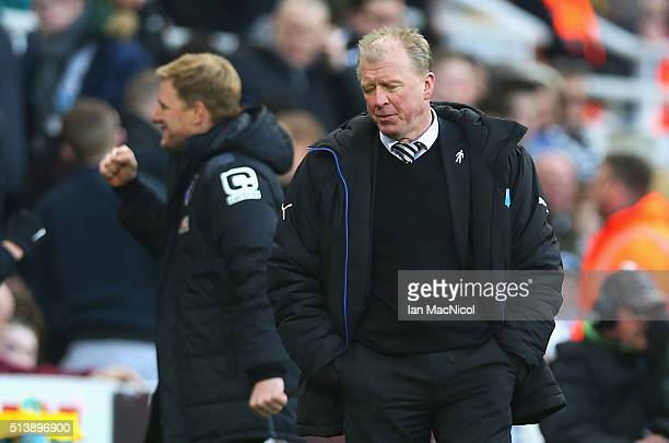 Steve McClaren manager of Newcastle United reacts after Bournemouth's third goal during the Barclays Premier League match between Newcastle United...
