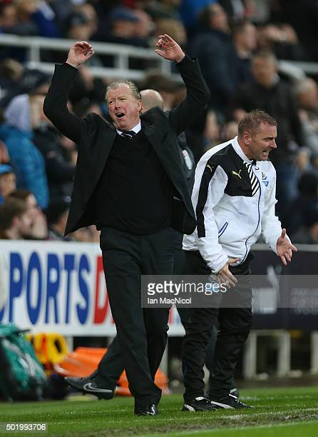 Steve McClaren manager of Newcastle United reacts during the Barclays Premier League match between Newcastle United and Aston Villa at St James' Park...