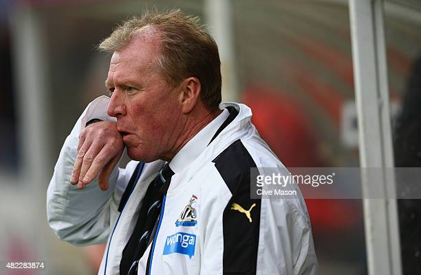 Steve McClaren of Newcastle United looks on prior to the pre season friendly match between York City and Newcastle United at Bootham Crescent on July...