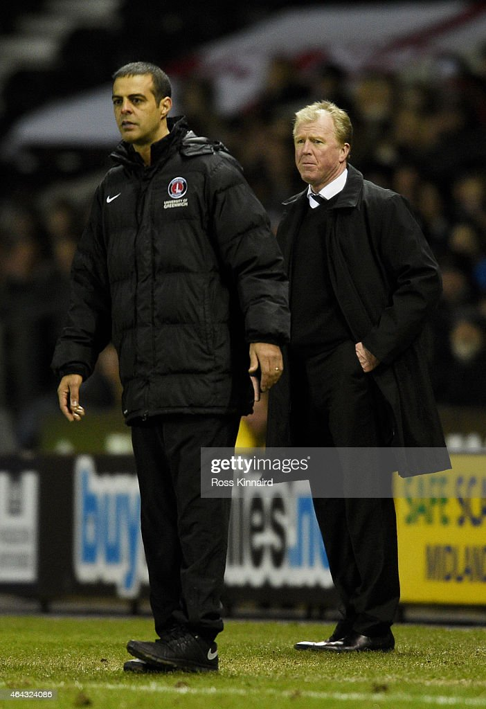 <a gi-track='captionPersonalityLinkClicked' href=/galleries/search?phrase=Steve+McClaren+-+Soccer+Manager&family=editorial&specificpeople=210864 ng-click='$event.stopPropagation()'>Steve McClaren</a> (R) the manager of Derby and <a gi-track='captionPersonalityLinkClicked' href=/galleries/search?phrase=Guy+Luzon&family=editorial&specificpeople=4595259 ng-click='$event.stopPropagation()'>Guy Luzon</a> the manager of Charlton look on during the Sky Bet Championship match between Derby County and Charlton Athletic at iPro Stadium on February 24, 2015 in Derby, England.