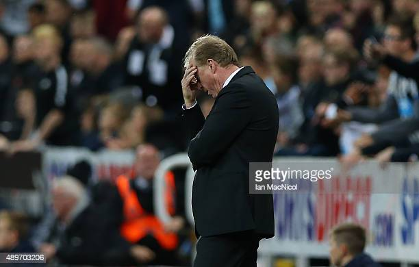 Steve McLaren Newcastle United's manager reacts during the Capital One Cup Third Round match between Newcastle United and Sheffield Wednesday at St...