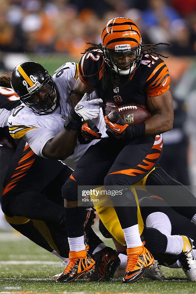Steve McLendon #90 of the Pittsburgh Steelers tackles <a gi-track='captionPersonalityLinkClicked' href=/galleries/search?phrase=BenJarvus+Green-Ellis&family=editorial&specificpeople=2562344 ng-click='$event.stopPropagation()'>BenJarvus Green-Ellis</a> #42 of the Cincinnati Bengals during the fourth quarter on September 16, 2013 at Paul Brown Stadium on September 16, 2013 in Cincinnati, Ohio. Cincinnati defeated Pittsburgh 20-10.