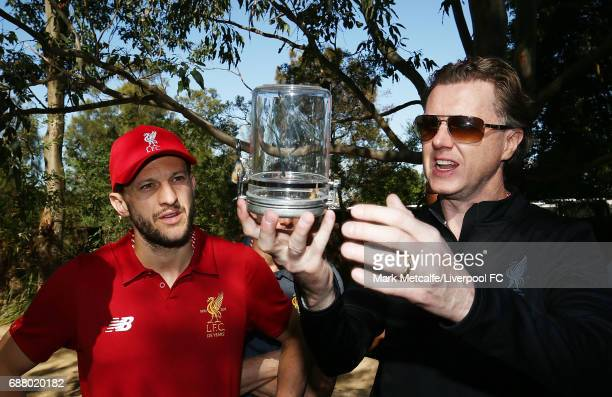Steve McManaman and Adam Lallana look at spiders during a Liverpool FC player visit to Taronga Zoo on May 25 2017 in Sydney Australia