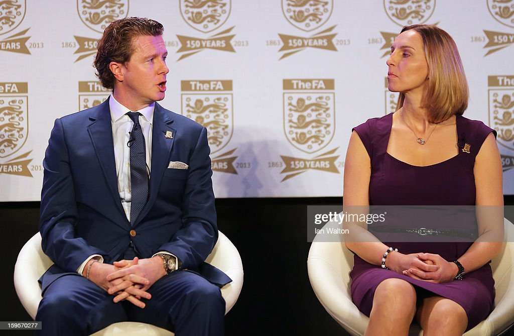 Steve McManaman and Faye White attend the official launch to mark the FA's 150th Anniversary Year at the Grand Connaught Rooms on January 16, 2013 in London, England.