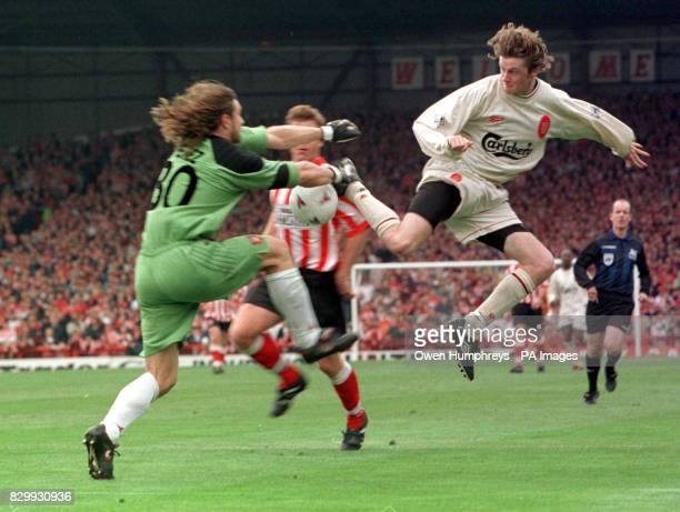 Steve McManaman flies in hard on Sunderland's Lionel Perrez during their Premiership match at Roker Park this afternoon Liverpool Beat Sunderland 21...