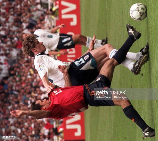 Steve McManaman holds back Sergi Barjuan during today's Euro 96 quarter final clash against Spain at Wembley Photo by Adam Butler/PA