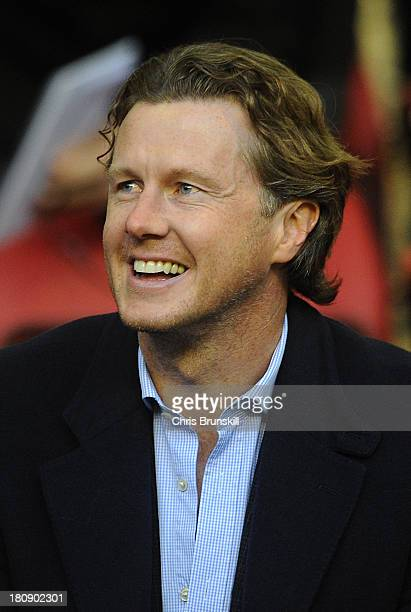 Steve McManaman looks on during the Barclays U21s Premier League match between Liverpool U21 and Sunderland U21 at Anfield on September 17 2013 in...