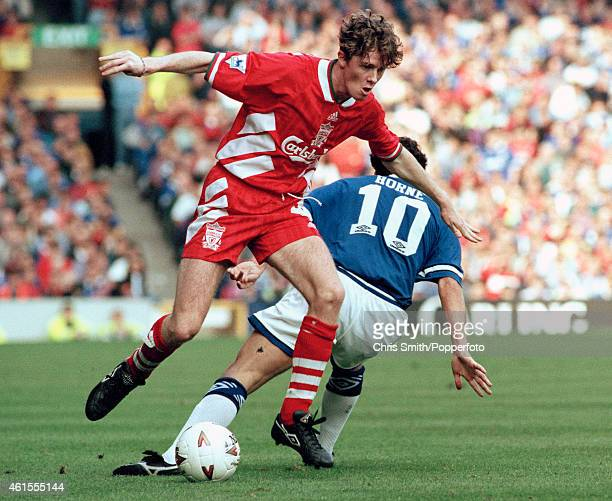 Steve McManaman of Liverpool evades Barry Horne of Everton during the FA Premier League match at Goodison Park in Liverpool 18th September 1993...