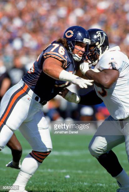 Steve McMichael of the Chicago Bears is under pressure during the game against the Atlanta Falcons on October 31993 in Chicago Illinois The Bears won...