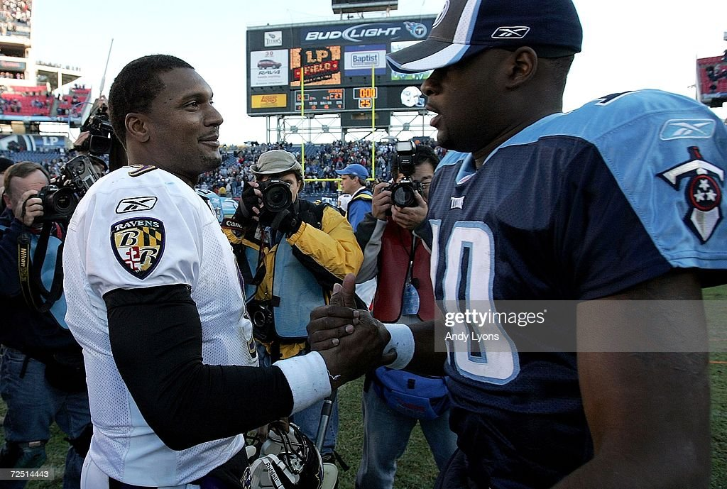 Steve McNair of the Baltimore Ravens and Vince Young of the Tennessee Titans greet each other after the Ravens defeated the Titans on November 12...