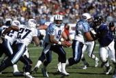Steve McNair of the Tennessee Titans in action against the Baltimore Ravens during an NFL football game October 7 2001 at PSINet Stadium in Baltimore...