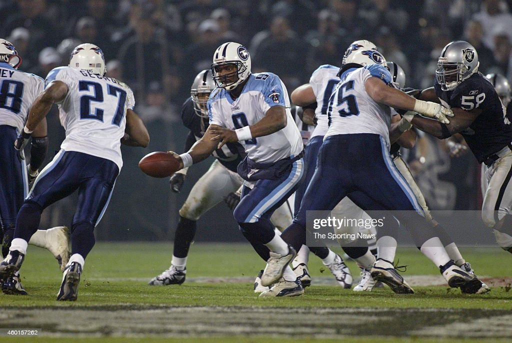 Steve McNair of the Tennessee Titans in action during a game against the Oakland Raiders on January 19 2003 at the Network Associates Coliseum in...