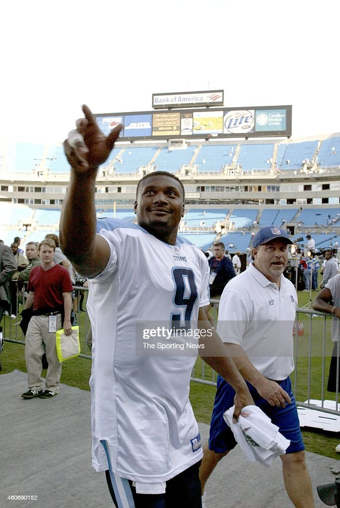 Steve McNair of the Tennessee Titans leaves the field after a game against the Carolina Panthers on October 19 2003 at Ericsson Stadium in Charlotte...