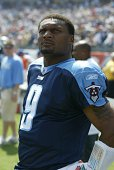 Steve McNair of the Tennessee Titans participates in warmups before a game against the Baltimore Ravens on September 18 2005 at the LP Field in...