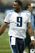 Steve McNair of the Tennessee Titans participates in warmups before a game against the St Louis Rams on September 25 2005 at the Edward Jones Dome...