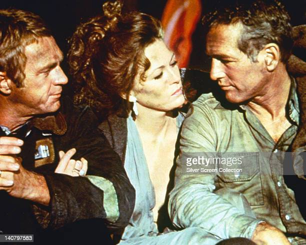 Steve McQueen Faye Dunaway US actress and Paul Newman US actor all in costume in a publicity still issued for the film 'The Towering Inferno' 1974...