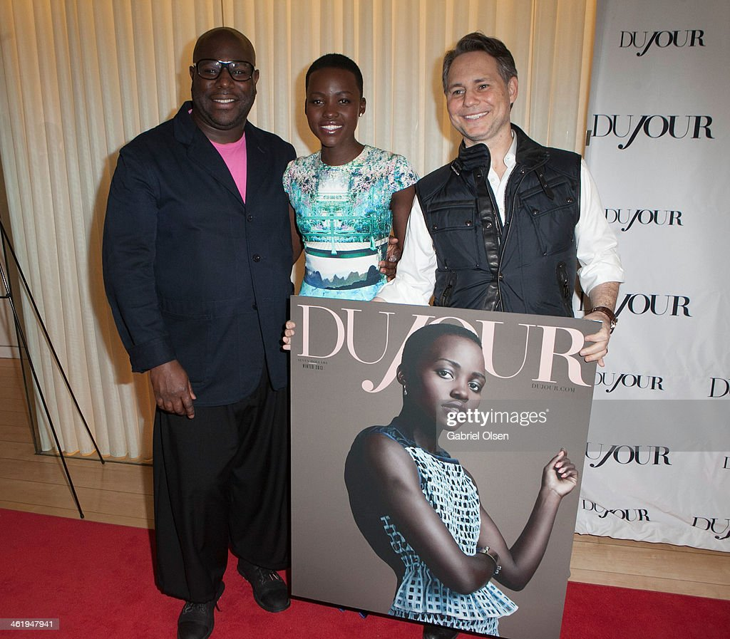 Steve McQueen, <a gi-track='captionPersonalityLinkClicked' href=/galleries/search?phrase=Lupita+Nyong%27o&family=editorial&specificpeople=10961876 ng-click='$event.stopPropagation()'>Lupita Nyong'o</a> and <a gi-track='captionPersonalityLinkClicked' href=/galleries/search?phrase=Jason+Binn&family=editorial&specificpeople=204684 ng-click='$event.stopPropagation()'>Jason Binn</a> join DuJour Magazine's <a gi-track='captionPersonalityLinkClicked' href=/galleries/search?phrase=Jason+Binn&family=editorial&specificpeople=204684 ng-click='$event.stopPropagation()'>Jason Binn</a> with editors Nicole Vecchiarelli & Keith Pollock as they celebrate The Great Performances issue featuring '12 Years A Slave' Golden Globe Nominee <a gi-track='captionPersonalityLinkClicked' href=/galleries/search?phrase=Lupita+Nyong%27o&family=editorial&specificpeople=10961876 ng-click='$event.stopPropagation()'>Lupita Nyong'o</a> at Herringbone, Mondrian LA on January 11, 2014 in Beverly Hills, California.