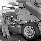 Steve McQueen of the CBS television western 'Wanted Dead or Alive' at CBS Television City Hollywood CA with his sports car a Jaguar XKSS special...