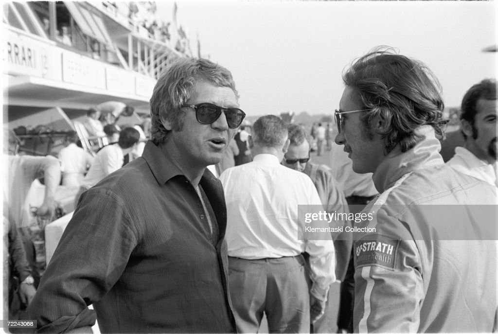 Steve McQueen who was producing his landmark film Le Mans with Porsche factory driver Jo Siffert before the 24 Hours race Le Mans 13th June 1970