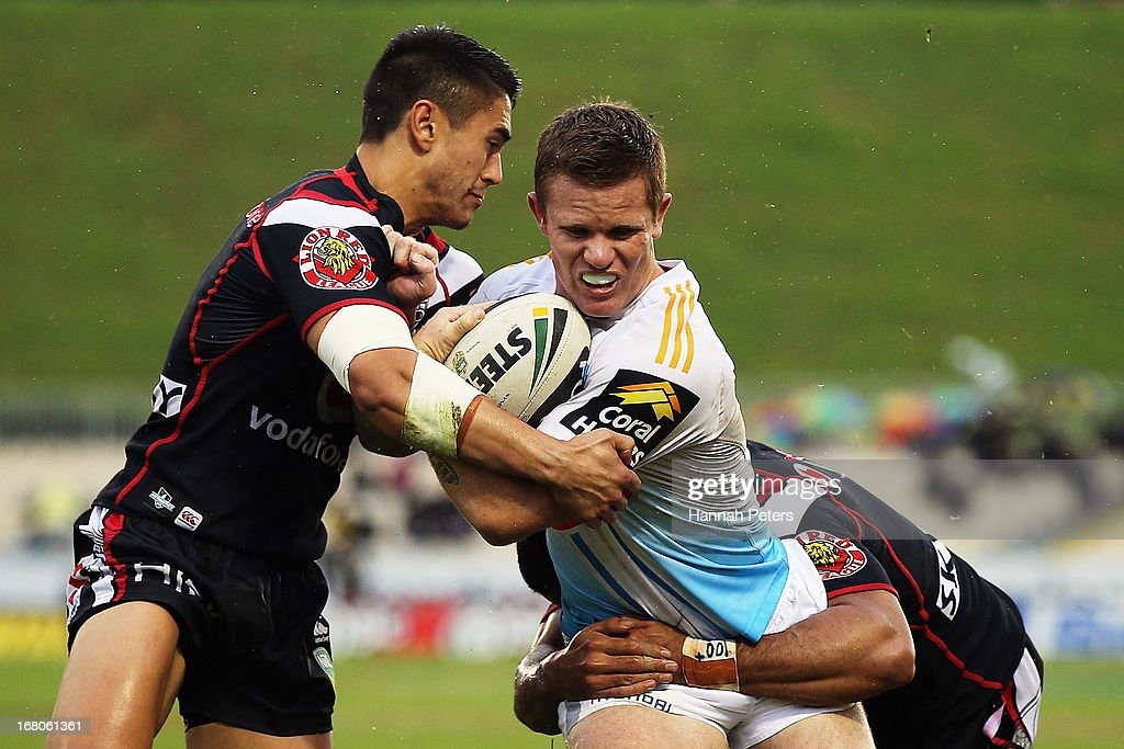 Steve Michaels of the Titans charges forward during the round eight NRL match between the New Zealand Warriors and the Gold Coast Titans at Mt Smart Stadium on May 5, 2013 in Auckland, New Zealand.
