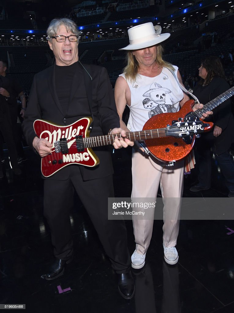 Steve Miller and Robin Zander attend the 31st Annual Rock And Roll Hall Of Fame Induction Ceremony at Barclays Center of Brooklyn on April 8, 2016 in New York City.