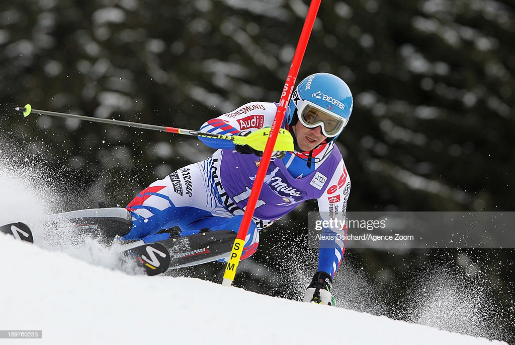 <a gi-track='captionPersonalityLinkClicked' href=/galleries/search?phrase=Steve+Missillier&family=editorial&specificpeople=835364 ng-click='$event.stopPropagation()'>Steve Missillier</a> of France competes during the Audi FIS Alpine Ski World Cup Men's Slalom on January 20, 2013 in Wengen, Switzerland.