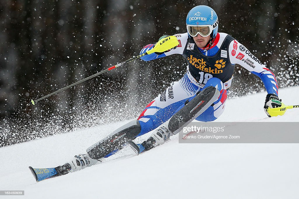 Steve Missillier of France competes during the Audi FIS Alpine Ski World Cup Men's Slalom on March 10, 2013 in Kranjska Gora, Slovenia.