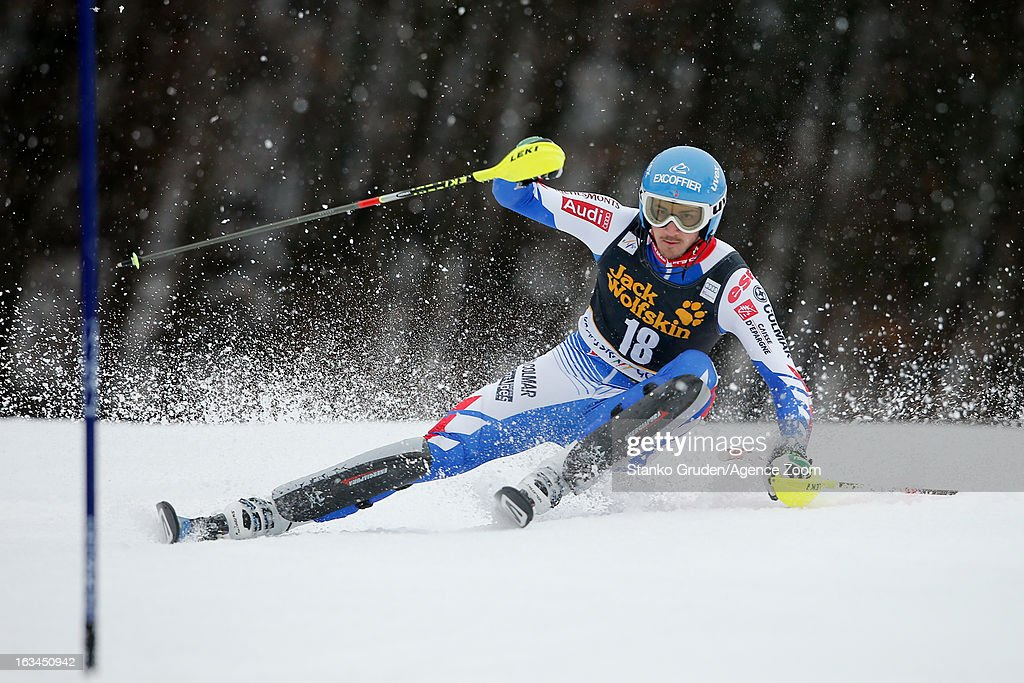 Steve Missillier of France competes during the Audi FIS Alpine Ski World Cup Men's Slalom on March 10, 2013 in Kranjska Gora, Slovenia.